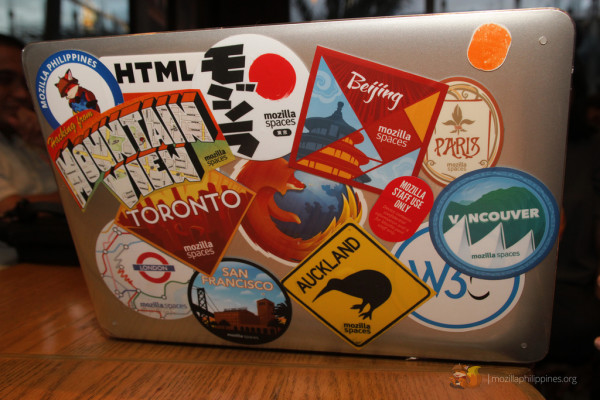 His laptop with all the Mozilla Spaces decals in it. Notice the one at the top left side corner -- our very own Alab!