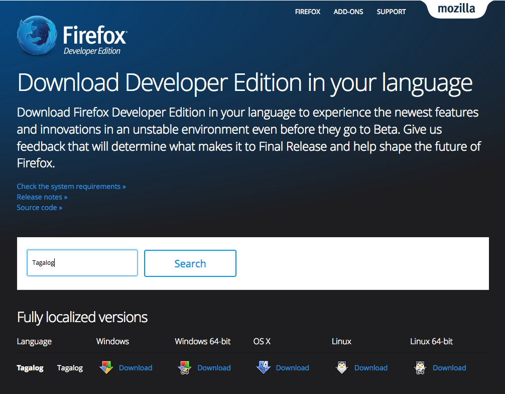 Firefox Developer Edition Now Available in Tagalog